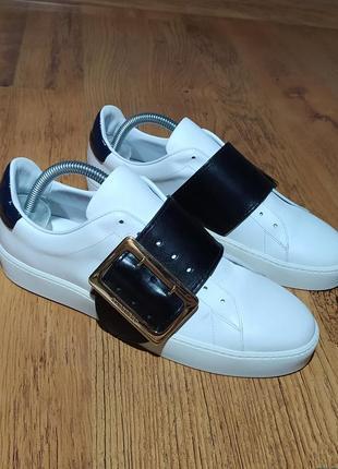 Burberry оригинал шикарные кожаные  кеды размер 39