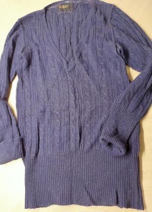 Свитер  с v-образным вырезом. пуловер. теплый свитер косами.