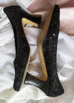 Великолепные винтажные туфли лодочки кружевные ажурные
