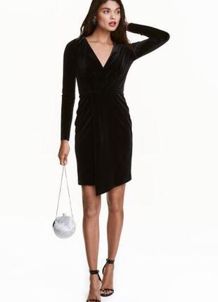 H&m брендовое черное платье на запах