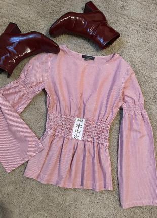Рубашка в полоску блуза красно-белая блузка на эластичной резинке объемные рукава клеш
