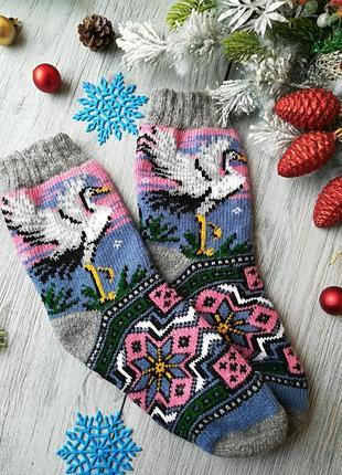 Вязаные зимние носки