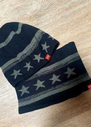 Модный двусторонний набор шапка и снуд / broel  / шапка / хомут / набор шапка и шарф /