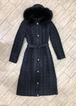 Шикарный зимний пуховик пальто куртка oilbird с натуральным мехом s m состояние идеальное
