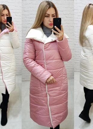 Теплая длинная двухцветная куртка пальто пуховик курточка одеяло2 фото