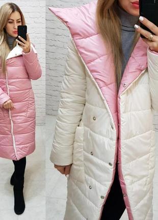 Теплая длинная двухцветная куртка пальто пуховик курточка одеяло3 фото