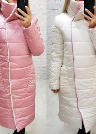 Теплая длинная двухцветная куртка пальто пуховик курточка одеяло4 фото
