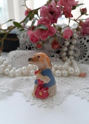 Статуэтка миниатюра собака с телефоном пес собачка