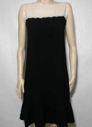 Классное миди свободное прямое платье с воланом маленький размер
