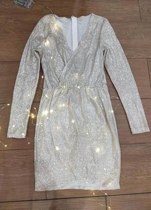 Платье  мини короткое люрекс блестящее