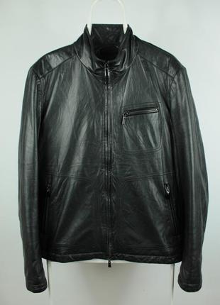 Шикарная оригинальная кожаная курточка canali утеплена пером