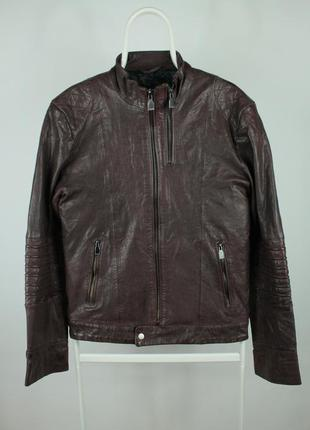 Стильная оригинальная кожаная курточка zara man black tag leather brown jacket