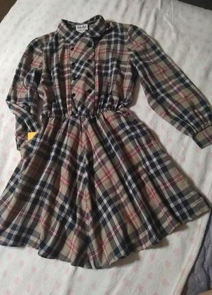 Качественное платье клетка с воротничком 🍁- m l