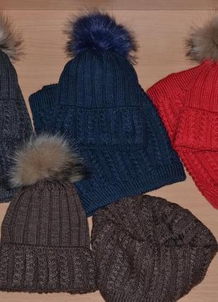 Набор комплект шапка на флисе и хомут теплый