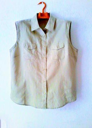 Льняная блузка рубашка без рукавов charles vögele 44 р-р 60% лен 40% хлопок
