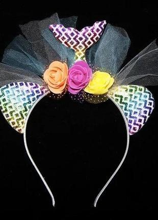 Аксессуар на ободке русалочка цветы фатин №2