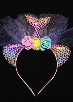Аксессуар на ободке хвост русалки мозаика цветы №3