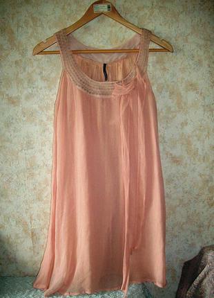 Платье-туника сарафан 100% шёлк пудрового цвета