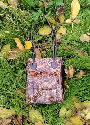 Стильная кожаная оригинальная индийскиая сумочка ручной работы в стиле бохо zara
