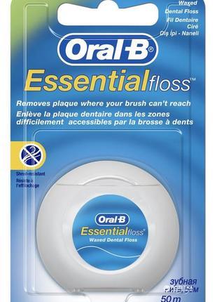 Зубная нитка oral-b essential, мятная, 50 м