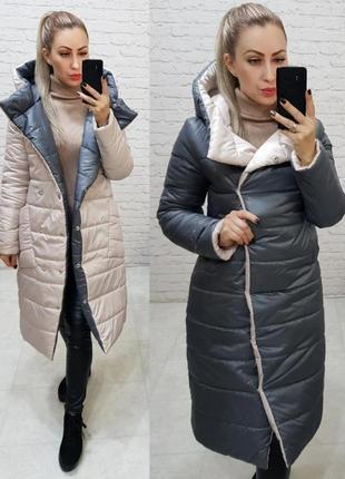 Двусторонняя куртка курточка пальто пуховик с капюшоном плащевка силикон