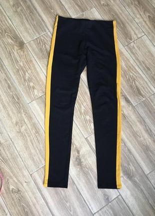 Хлопковые плотные штаны лосины легинсы с лампасами от h&m