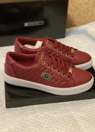 Вишневые кеды, мокасины guess оригинал, красные кроссовки
