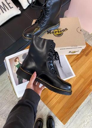 Женские кожаные зимние ботинки dr.martens 1460 black черного цвета 😍(на меху)