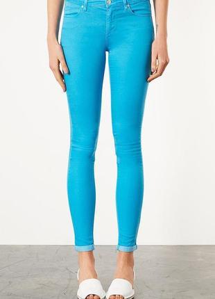 Topshop moto новые актуальные сочные летние джинсы скинни голубого цвета