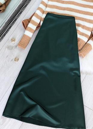 Нова атласна спідниця міді 26130