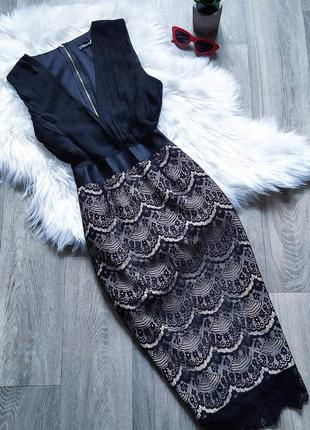 Шикарное кружевное вечернее платье-миди по фигуре 💣