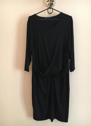 Батал большой размер шикарное чёрное платье платьице плаття миди натуральное
