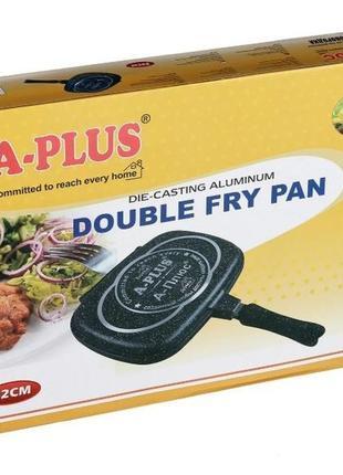 Сковорода двухсторонняя для гриля и жарки a-plus 32 см мраморное покрытие