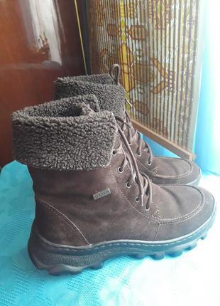 Теплые зимние ботинки натуральная замша на массивной подошве тренд 38 размер geox