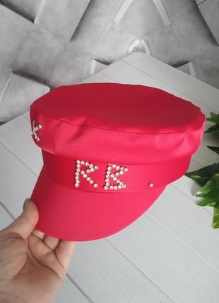 Женский картуз кепи фуражка rb атласный с камнями красный