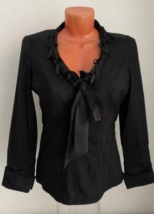 Sale!винтаж черная стрейчевая блуза рубашка (оригинал)с декором и брендовыми запонками