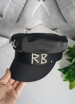 Картуз кепи фуражка атласный с камнями черный