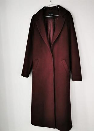 Бордовое пальто 121017 new look размер uk10/38 (s/m)
