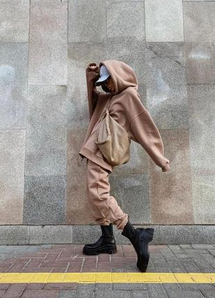 Спортивный костюм бежевый нюд худи длинное оверсайз объёмное штаны на резинке джоггеры