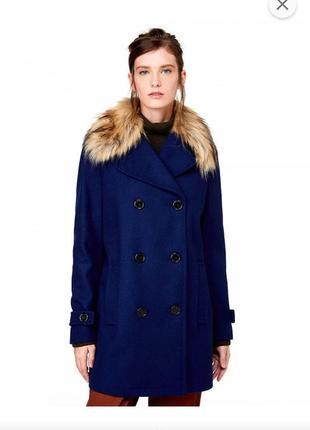 Шерстяне пальто united colours of benetton меховой воротник двубортный шерсть