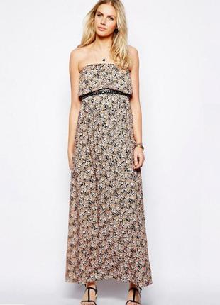 Легкое летнее макси платье в пол без бретелек с цветочным принтом на высокий рост new look