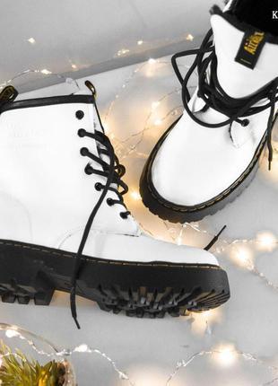 Женские ботинки dr.martens jadon (белые мех) зима