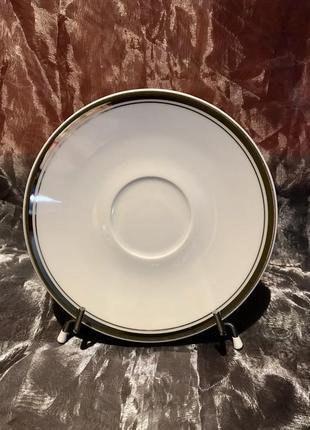 Leander чехия. фарфоровая тарелочка с серебрением.