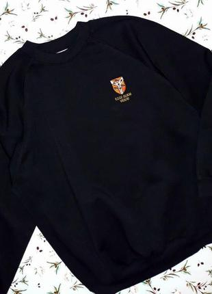 🎁1+1=3 базовый черный мужской свитер свитшот на флисе truetex, размер 48 - 50