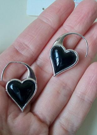 Оригинальные двусторонние серьги 🔥 сердца с натуральными камнями