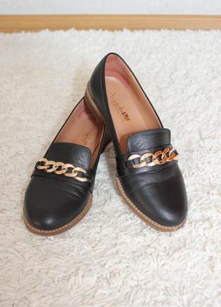 Лоферы, ботинки, туфли деми осень весна лето c цепью на низком ходу кожа