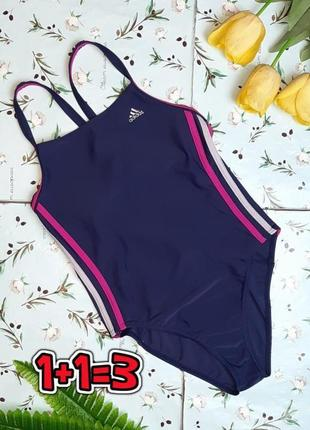 🎁1+1=3 фирменный синий сплошной сдельный купальник adidas с лампасами, размер 44 - 46