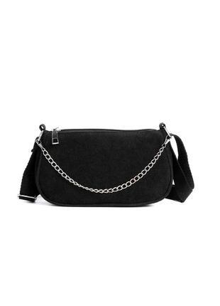 Базовая черная сумка багет сумка с цепями черная сумка