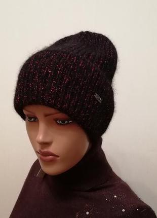 Классная тёплая шапка ангора на флисе 56-58