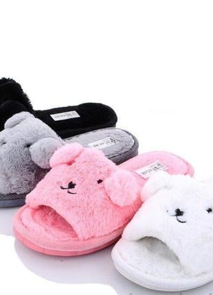 Тапочки домашние, тапки текстильные, женская обувь для дома, тапочки с ушками